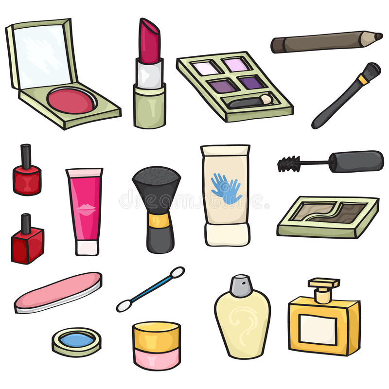 被设置的动画片化妆用品 库存例证