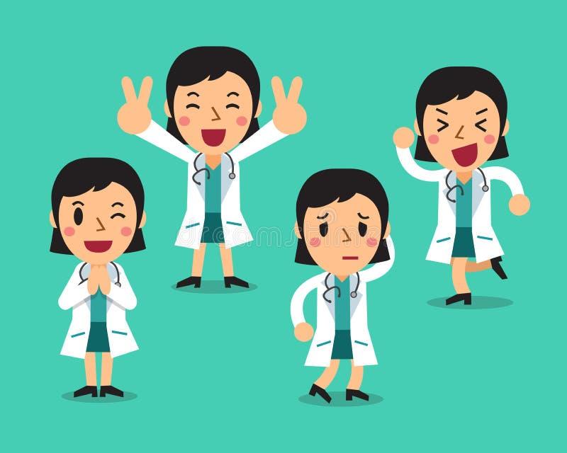被设置的动画片女性医生字符姿势 皇族释放例证