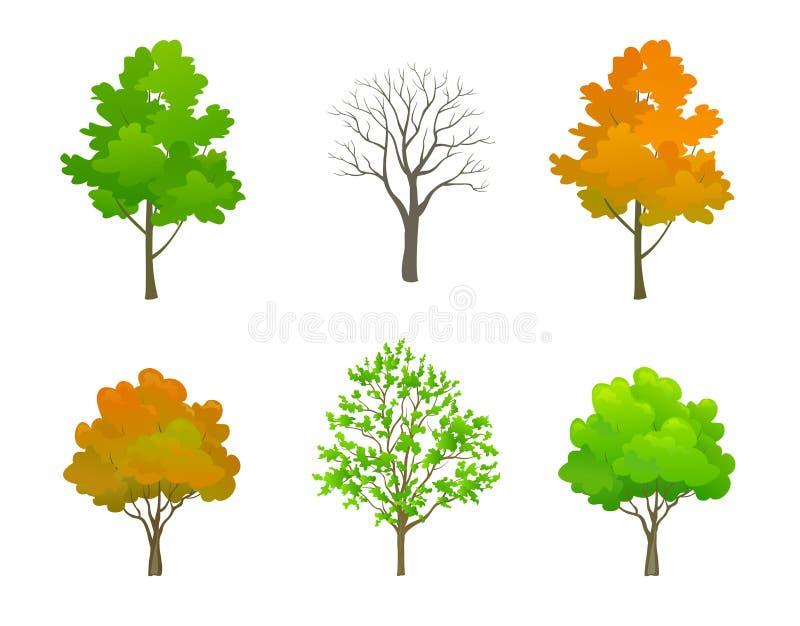 被设置的动画片树 库存例证