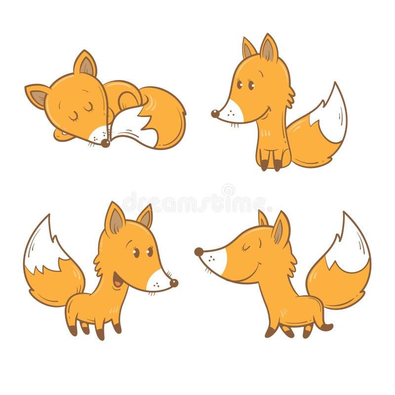狐狸色中国片_滑稽动物的森林 四只狐狸用不同的姿势 儿童例证s 蓝色云彩图象彩虹