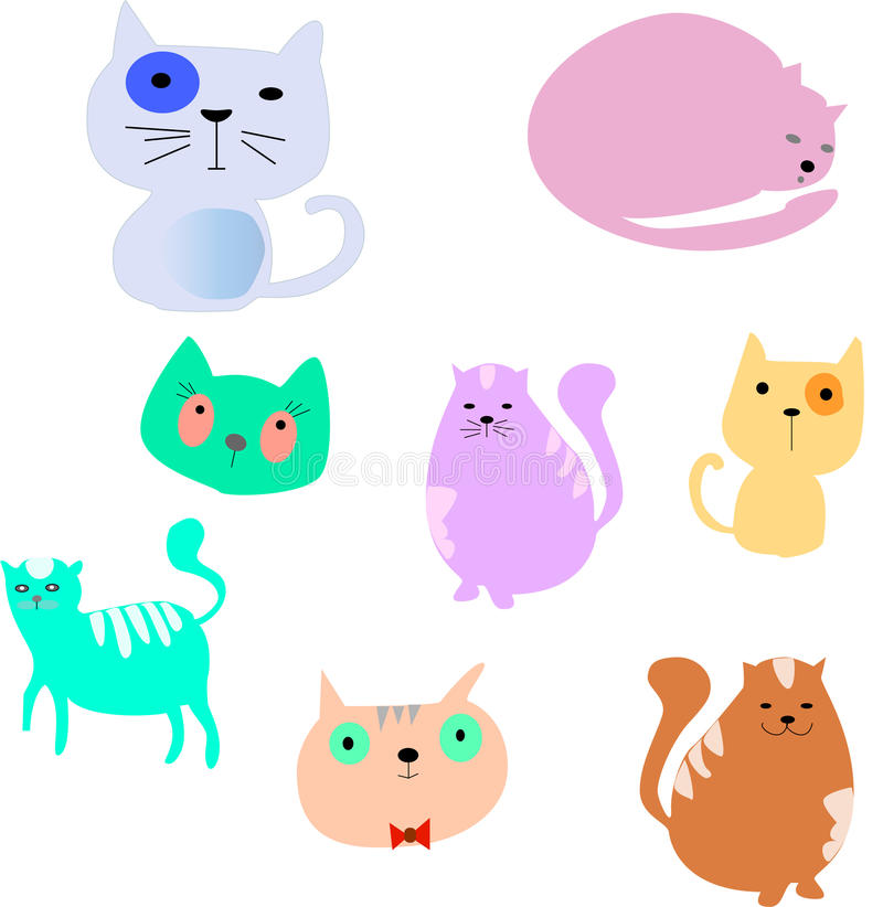 被设置的动画片猫 简单的现代平的样式传染媒介 免版税库存照片
