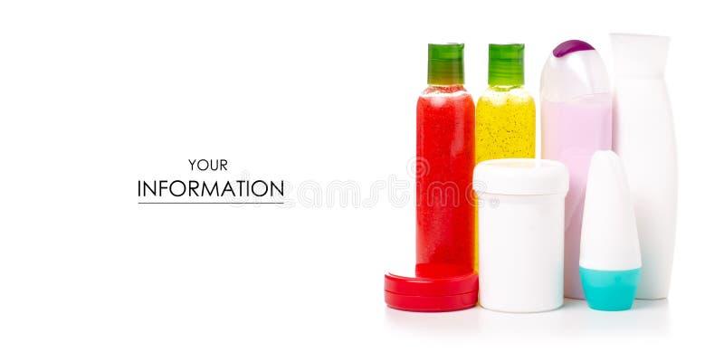 被设置的化妆瓶身体洗刷奶油色化妆水胶凝体阵雨丝瓜络样式 库存照片