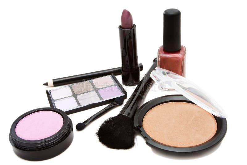 被设置的化妆用品 图库摄影