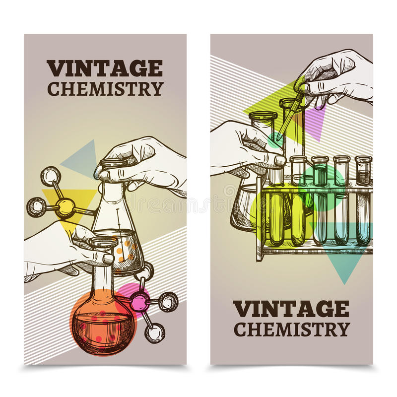 被设置的化学实验室葡萄酒垂直的横幅 向量例证