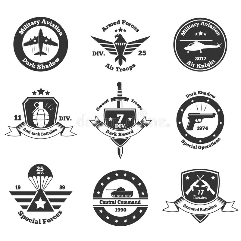被设置的单色军事象征 库存例证