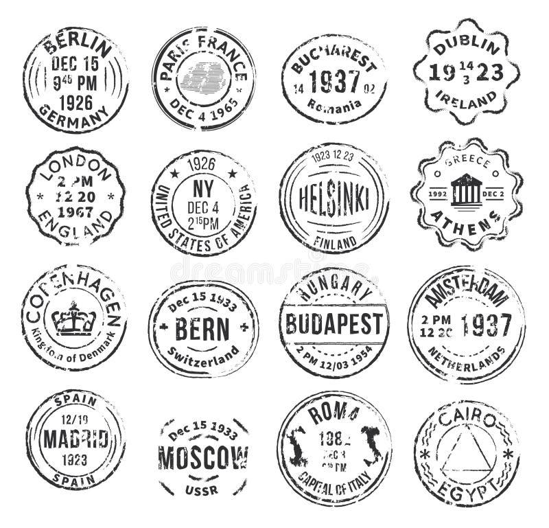 被设置的单色邮政邮票 向量例证