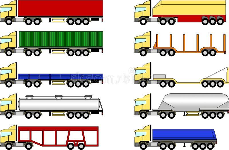 被设置的卡车和拖车 库存图片