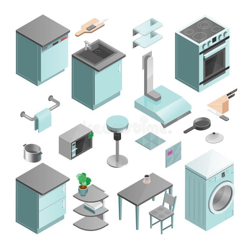 被设置的厨房内部等量象 向量例证