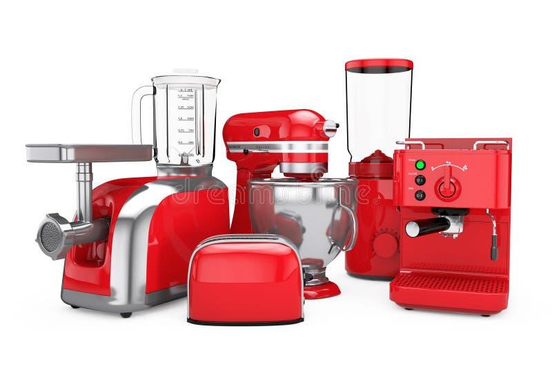 被设置的厨房器具 红色搅拌器,多士炉,咖啡机器,我 向量例证