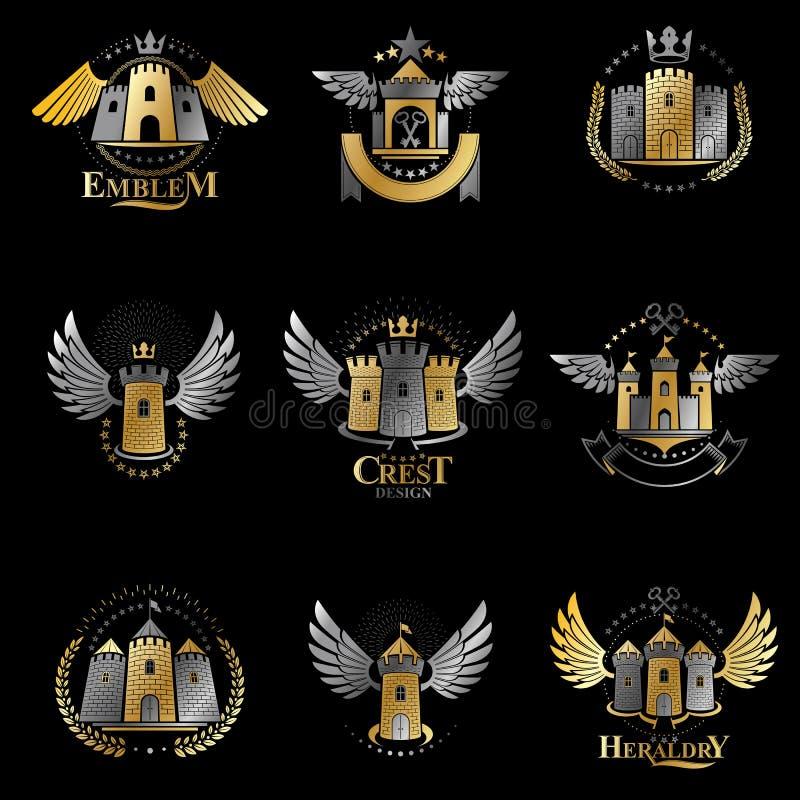 被设置的古老堡垒象征 纹章学徽章装饰商标隔绝了传染媒介例证汇集 库存例证