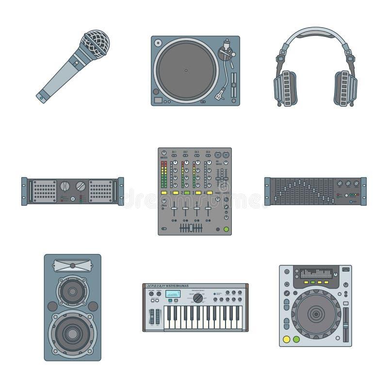 被设置的各种各样的颜色概述声音设备象 库存例证