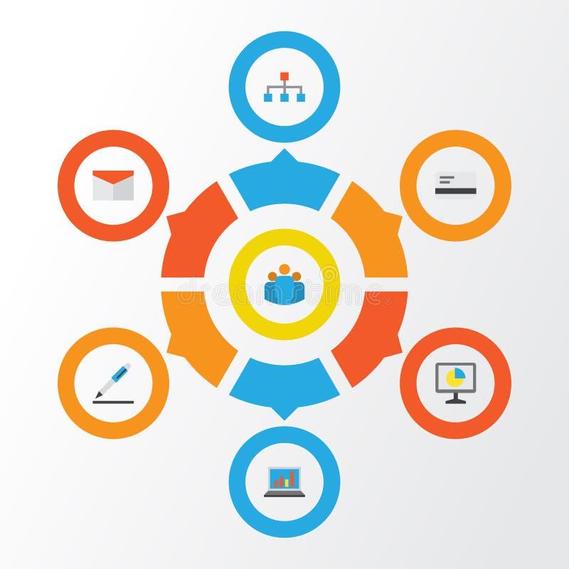 被设置的商业平的象 付款、阶层、小组和其他元素的汇集 并且包括标志例如笔 库存例证