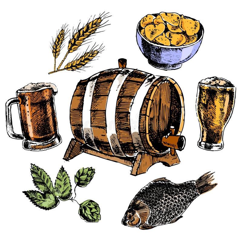 被设置的啤酒图标 皇族释放例证