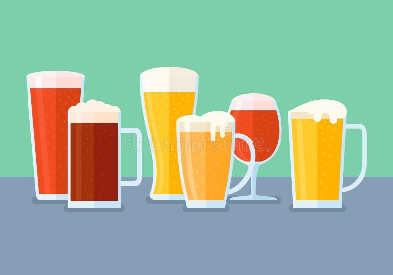 被设置的啤酒杯 平的样式水平的横幅 向量例证