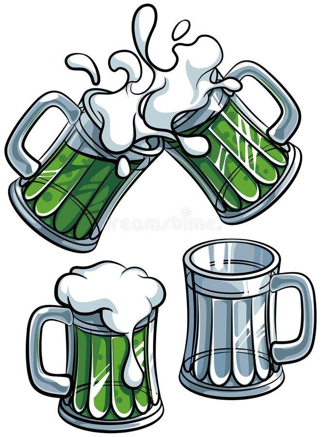 被设置的啤酒杯 图库摄影
