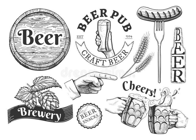 被设置的啤酒象征 皇族释放例证