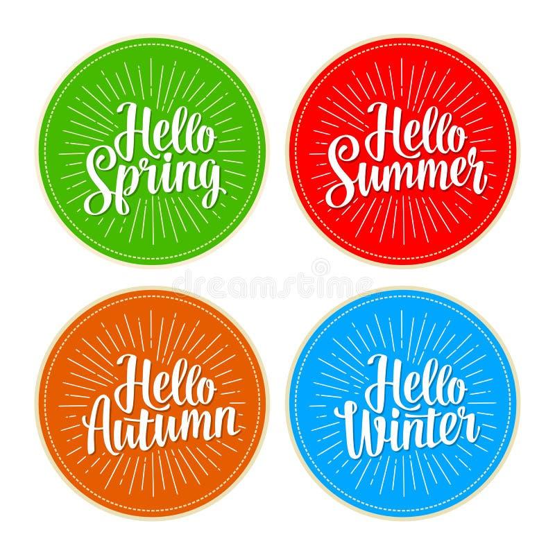 被设置的四个季节贴纸 你好冬天,春天,夏天,秋天字法 向量例证