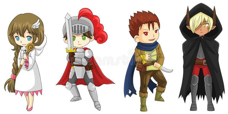 被设置的四个幻想动画片战士和巫术师字符(传染媒介) 库存例证