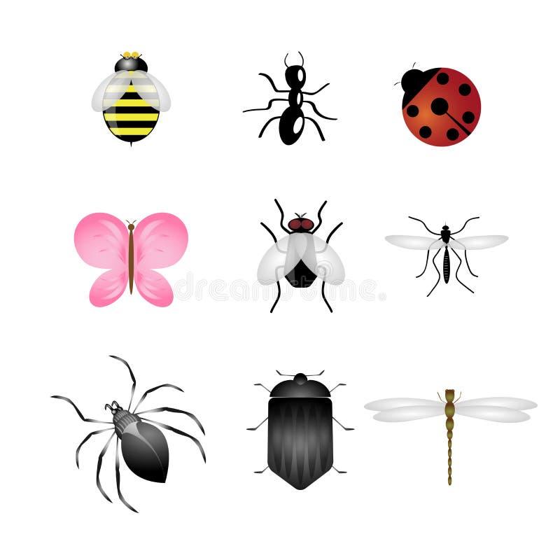 被设置的图标昆虫 库存例证