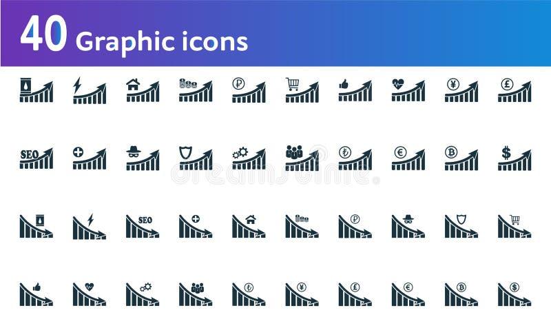 被设置的图表象 UI和UX 优质质量标志收藏 图表象设置了简单的元素用于应用程序,印刷品,softwar 向量例证