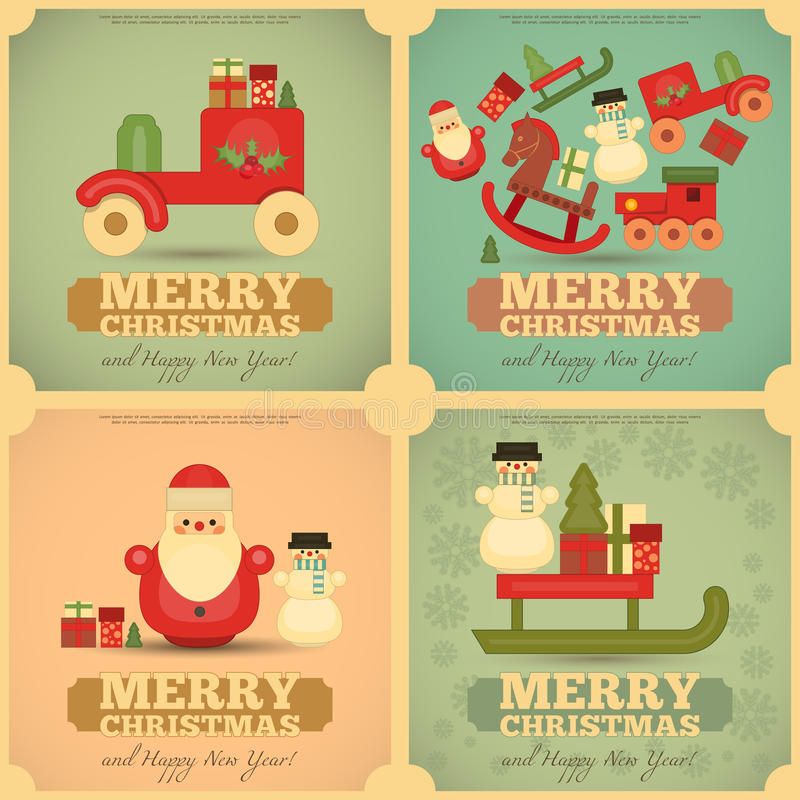 被设置的圣诞快乐和新年快乐海报 向量例证