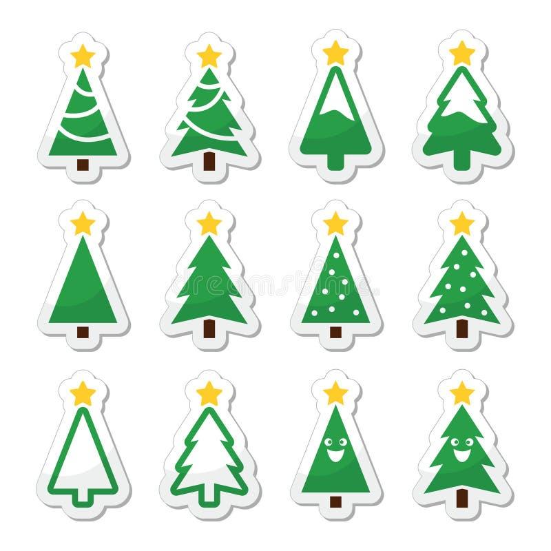 被设置的圣诞树象 向量例证