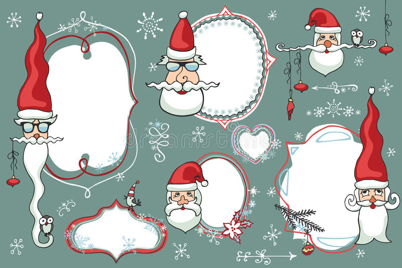 被设置的圣诞节乱画 徽章,与圣诞老人的标签 库存例证