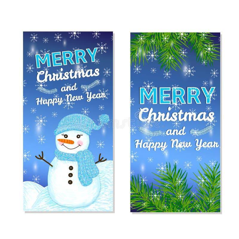 被设置的圣诞节和新年模板 库存例证