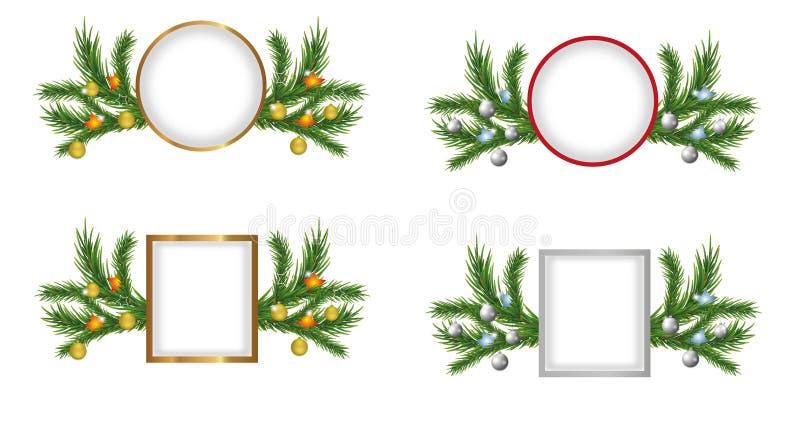 被设置的圣诞节或新年框架装饰了分支与金黄球和星的圣诞树 向量 库存例证