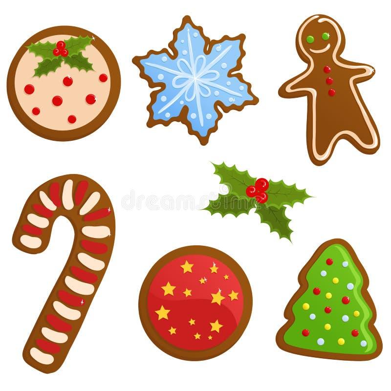 被设置的圣诞节曲奇饼 库存例证