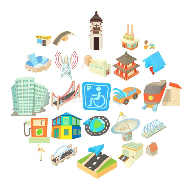 被设置的城市驻地象,动画片样式 库存例证