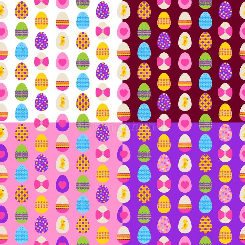 被设置的复活节彩蛋无缝的样式 免版税库存照片