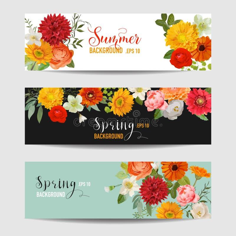被设置的夏天花卉横幅和标记-水彩花 向量例证