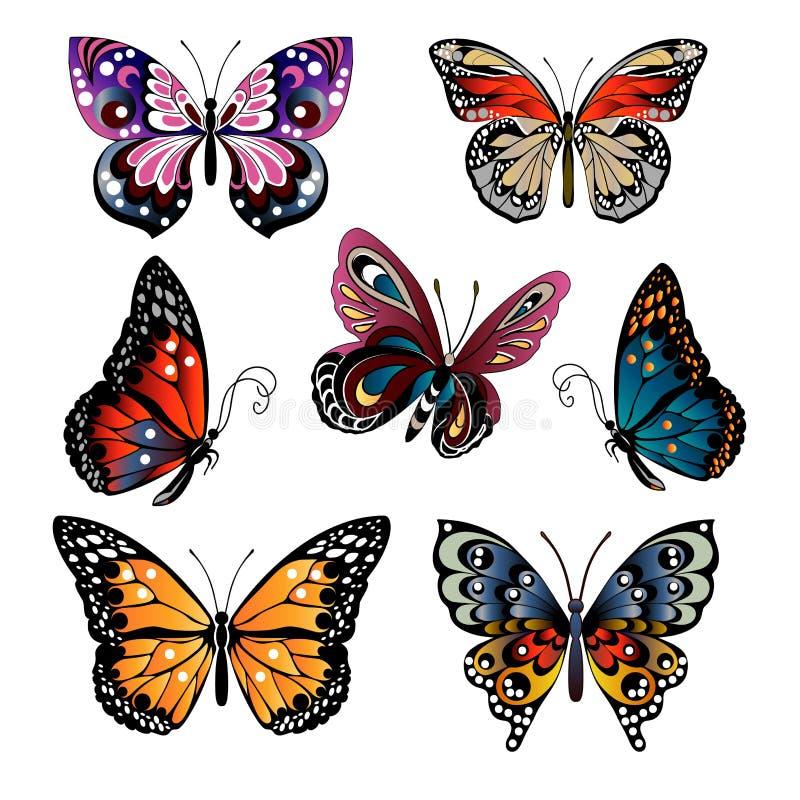 被设置的多彩多姿的蝴蝶 皇族释放例证