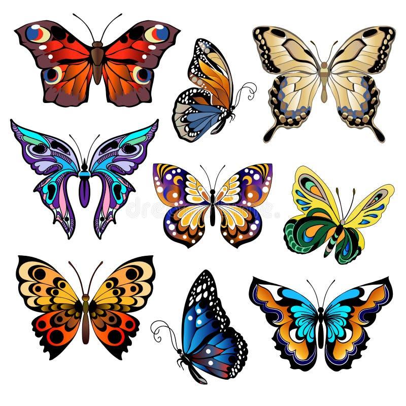 被设置的多彩多姿的蝴蝶 库存例证