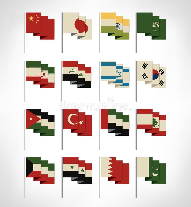 被设置的多数普遍的亚洲旗子 向量例证