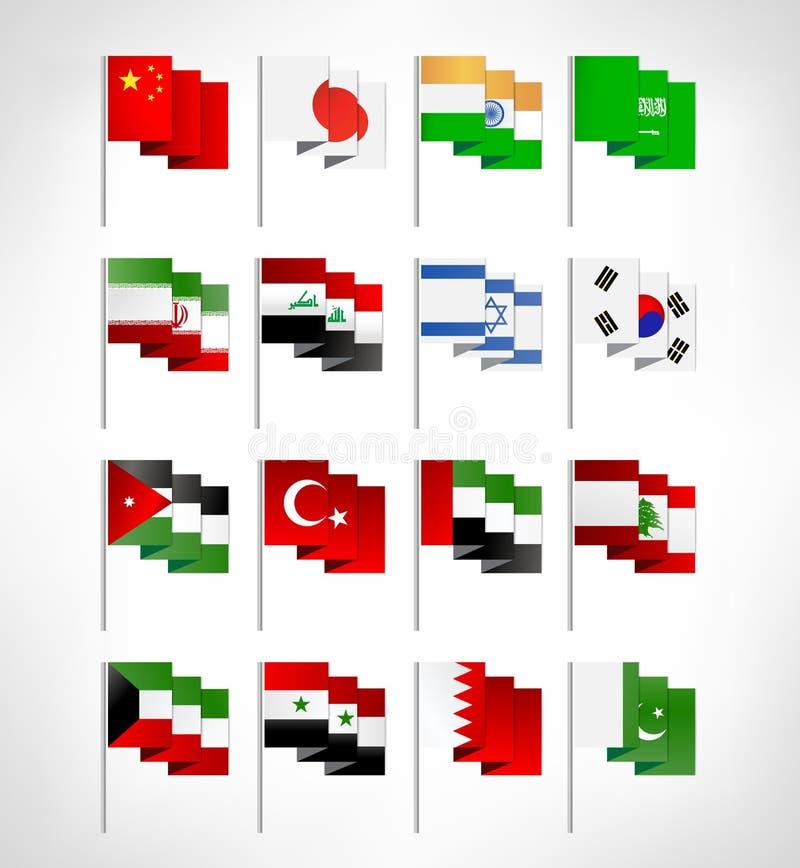被设置的多数普遍的亚洲旗子 皇族释放例证