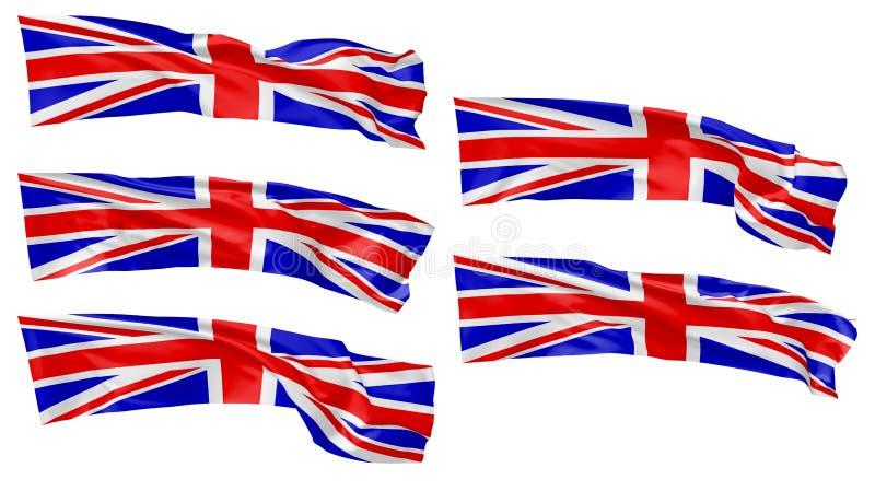 被设置的大英国长的旗子 库存例证