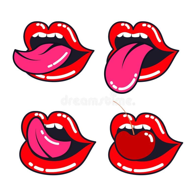 被设置的女性嘴唇 与舌头、牙和樱桃的妇女嘴 库存例证