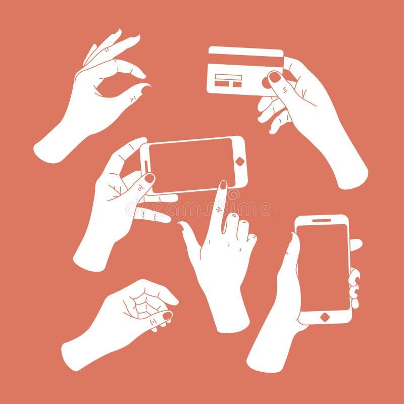 被设置的妇女手 拿着智能手机和信用卡的手 图画递她的温暖的妇女年轻人的早晨内衣 也corel凹道例证向量 向量例证