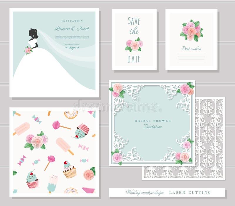 被设置的婚礼模板 典雅的保险开关信封设计、新娘剪影邀请卡片和花卉装饰元素 皇族释放例证