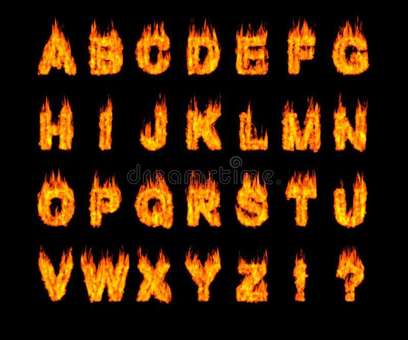 被设置的字母表燃烧的拉丁字母 向量例证