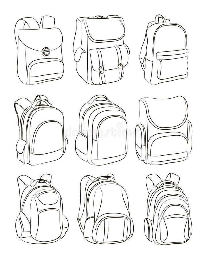被设置的学校背包 库存例证