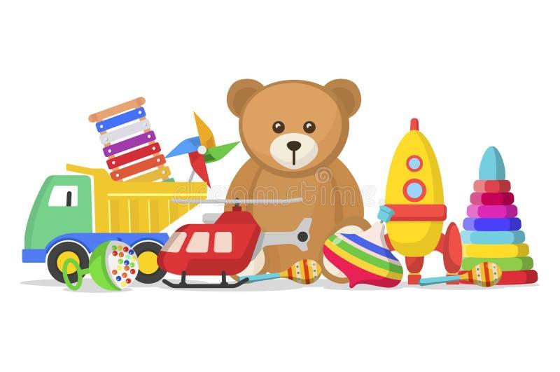 被设置的孩子玩具 向量例证