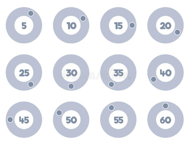 被设置的定时器象,秒表传染媒介象 库存例证