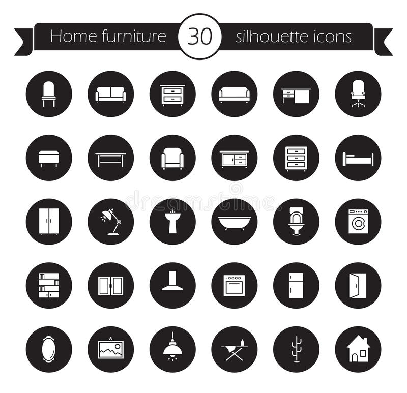 被设置的家具图标 投反对票 库存例证