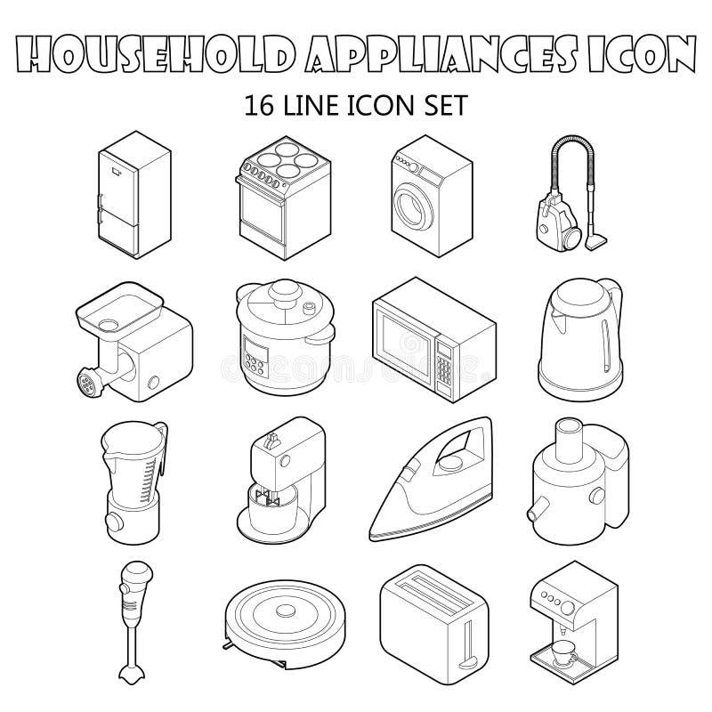 被设置的家用电器象,概述样式 向量例证