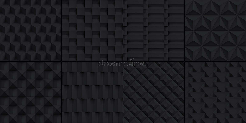 8被设置的容量现实立方体纹理,黑几何样式,您的传染媒介设计黑暗的背景射出 向量例证