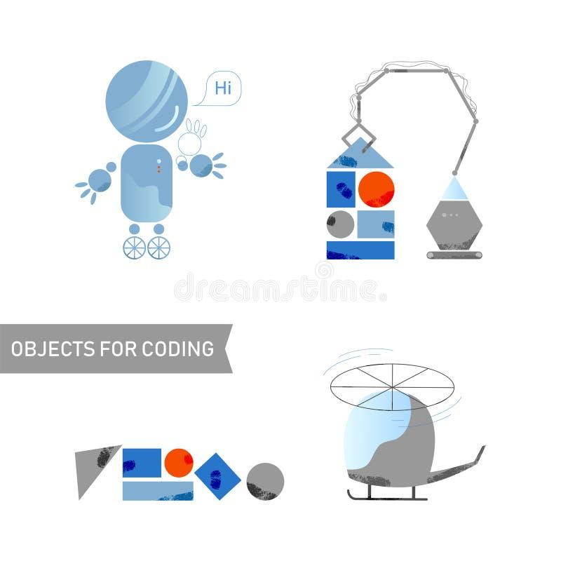被设置的对象 儿童编码 机器人,机器,直升机,大厦孩子设计平的样式 汇集乐趣设备和元素 向量例证