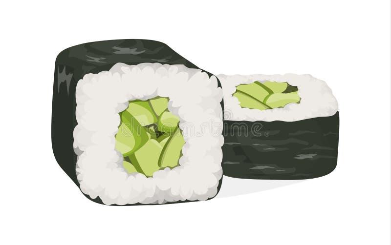 被设置的寿司卷 库存例证